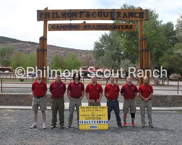Seally Canyon Staff 2013  Front (L-R): Paul Klein, Estevan Castillo, Bruno Harvey, Brian Hutzler, Nick Bamf, Alexander Jones, and David Keegan.