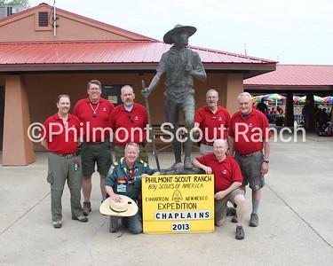 Philmont Scout Ranch Chaplins 2013. (Left)Cantor Mike Dzubin, Pastor Rick Mang, Pastor James Hoke. Elder David Wilson. (Right) Pastor James DeLair, Padre, Father Ray Fecteau