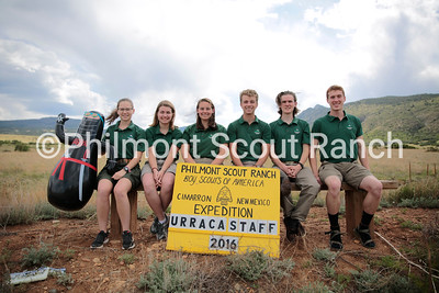 PHILMONT: Urraca Staff 2016  Seated (Left to Right): Olivia Koury, Michelle Stinnett, Kelly Mizzanobile, Austin Applegate, Charlie Ostrem, Lucas Jackson