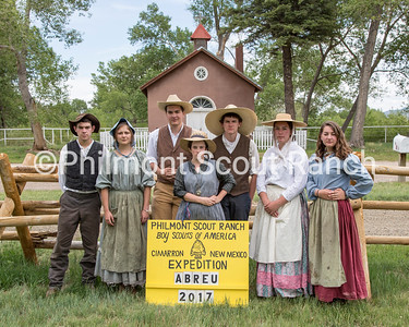 This is the staff photo for Abreu. Currently do not have names.  *BATCH CAPTION*  On Friday, June 2, 2017, the Philmont 2017 summer staff met at The Rayado/Kit Carson camp to learn the necessary skills for their period specific interpretive positions and to take their camp staff photos in costume.