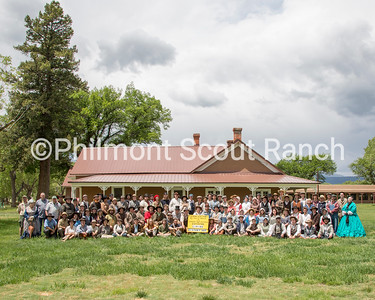 This is the Living History Staff photo for all camps.  *BATCH CAPTION*  On Friday, June 2, 2017, the Philmont 2017 summer staff met at The Rayado/Kit Carson camp to learn the necessary skills for their period specific interpretive positions and to take their camp staff photos in costume.