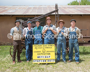This is the staff photo for Metcalf Station. Currently do not have names.  *BATCH CAPTION*  On Friday, June 2, 2017, the Philmont 2017 summer staff met at The Rayado/Kit Carson camp to learn the necessary skills for their period specific interpretive positions and to take their camp staff photos in costume.