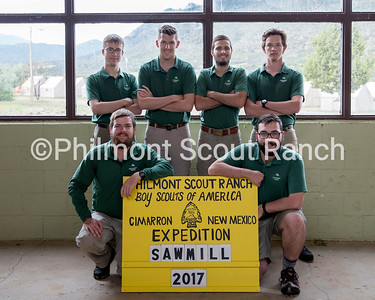 Sawmill Staff 2017 May 31, 2017  Back Row Left to Right: Logan Maurer, PC, Arlington Heights, IL Ryan Bailey, PC, Ft. Smith, AR Alex Nicklaus, PC, Irvine, CA Dylan Anderson, PC, Charlottesville, VA  Front  Row Left to Right: Paul Rosenzweig, PC, Augusta, GA Hall Miles, CD, Hartville, OH