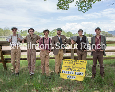 This is the staff photo for Crater Lake. Currently do not have names.  *BATCH CAPTION*  On Friday, June 2, 2017, the Philmont 2017 summer staff met at The Rayado/Kit Carson camp to learn the necessary skills for their period specific interpretive positions and to take their camp staff photos in costume.