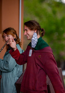 Ryan McDowell laughing at a joke while practicing music outside the Advisor's Lounge on May 28th, 2021.