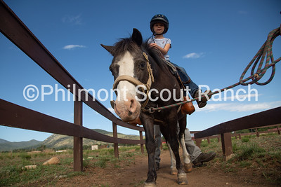 A PTC participant rides a pony on Thursday, July 25, 2019 at the Philmont Training Center in Cimarron, New Mexico.