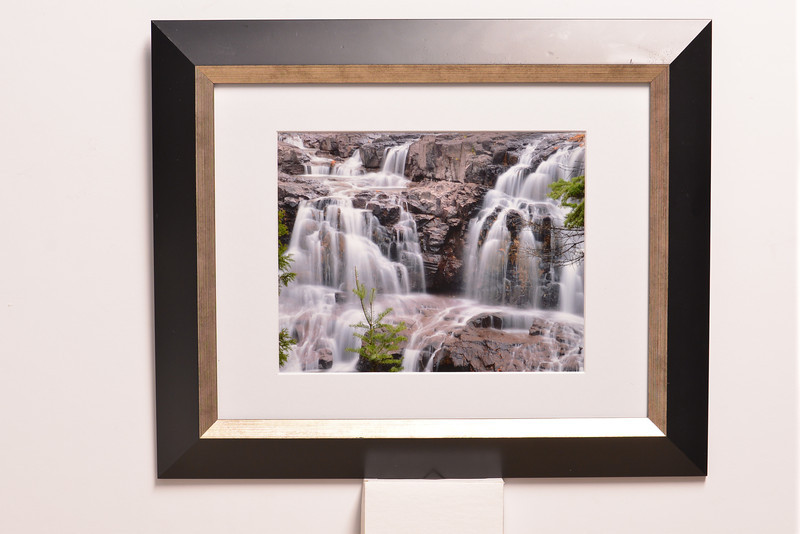 """Upper falls of the Gooseberry River in Gooseberry State Park on Lake Superior's North Shore (Minnesota).<br /> Photo size 7 1/2"""" x 9 1/2"""" (8"""" x 10"""", frame size 14 1/2"""" x 17 1/2""""<br /> $69.00"""