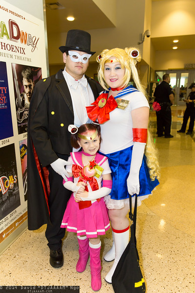 Tuxedo Mask, Sailor Chibi Moon, and Sailor Moon