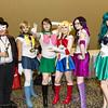 Tuxedo Mask, Sailor Uranus, Sailor Jupiter, Sailor Moon, Sailor Saturn, and Sailor Neptune