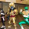 Black Ranger, Goldar, and Green Ranger