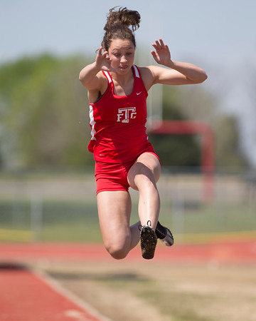 VON CASTOR/Phoenix special photo<br /> Fort Gibson's Zoey Whiteley won the long jump at the Hilldale Invitational track meet on Monday with a leap of 14 feet, 2 inches and also won the 400-meter run in a time of 1 minute, 1.79 seconds.