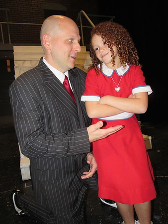 """CATHY SPAULDING/Muskogee Phoenix<br /> Depression-era billionaire Oliver Warbucks (Lucas Foster) takes orphan Annie (Evy Claire Mitchell) into his mansion and life in the musical """"Annie."""""""