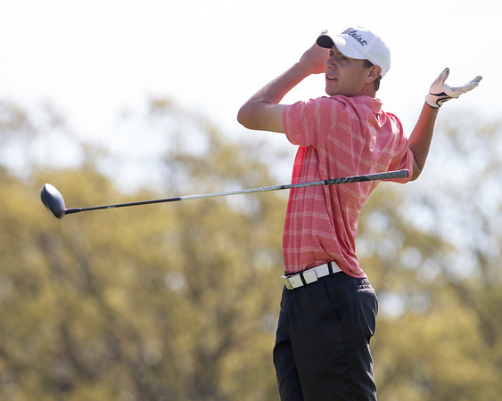Phoenix special photo by Von Castor<br /> Hilldale's Grant Sikes looses his grip on the club as he tees off on the 4th hole of the Legends Course at Shangri La Wednesday in the boys 4A conference tournament.