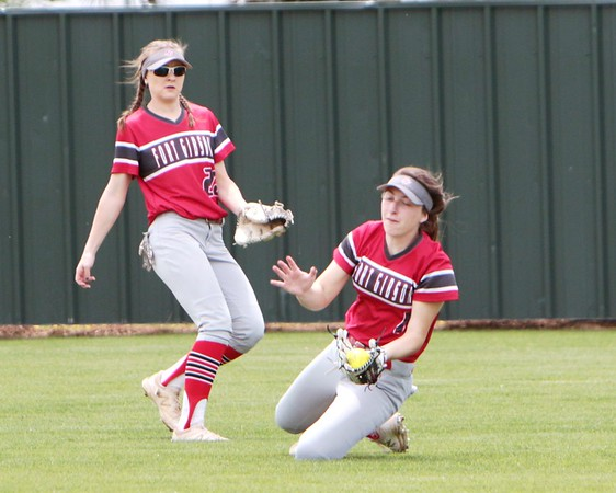 JOHN HASLER/Special to the Phoenix<br /> Makenzie Austin makes a sliding catch in game 2 of Fort Gibson's Class 5A district playoff with Checotah on Tuesday.