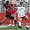 VON CASTOR/Special to the Phoenix<br /> Fort Gibson's Albany Adair takes a shot on goal as Hilldale's Emerson Glass defends in Tuesday's game.