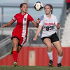 Phoenix special photo by Von Castor<br /> Hilldale's Destiny Ladd and Fort Gibson's Zoey Whitely battle for ball possession Tuesday evening at Lady Hornet Field.