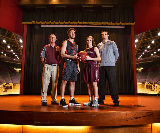 Phoenix special photo illustration by Mandy Lundy<br /> Pictured, from left, are Webbers Falls' Jerry Ward, the All-Phoenix boys basketball Coach of the Year, Okay's Caleb Riggs and Sequoyah's Lexy Keys, the two Most Valuable Players, and Tahlequah's David Qualls, the girls' Coach of the Year.