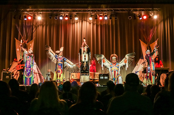 Special photo by Mandy Lundy<br /> Native American dancers in full regalia shared music, stories with Muskogee audience at Brule' concert.