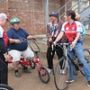 Staff photo by Cathy Spaulding<br /> Esthela Casale meets with veterans, from left, Joel Lebowitz, Paul Morris and Jim Colvin, who are involved in a Project Hero program at the Eastern Oklahoma VA Health Care System. The cycling program helps veterans heal from emotional or physical trauma.