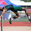VON CASTOR/Phoenix Special Photo<br /> Muskogee's Kentrell Mitchum clears the high-jump bar Friday at Indian Bowl.