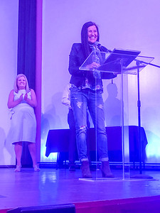 CHESLEY OXENDINE/Muskogee Phoenix Muskogee native Kimberly Norris Guerrero thanks the Oklahoma Movie Hall of Fame during her induction Saturday evening.