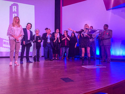 """CHESLEY OXENDINE/Muskogee Phoenix The cast and crew of """"Nanyehi"""" take to the stage of the Roxy Theater to accept their induction into the Oklahoma Movie Hall of Fame on Saturday."""
