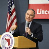 Staff photo by Harrison Grimwood<br /> Oklahoma Attorney General Scott Pruitt addresses the annual Muskogee County Republican Lincoln-Reagan Dinner on Thursday at Indian Capital Technology Center.