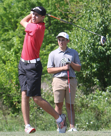 Phoenix special photo by John Hasler<br /> Hilldale's Grant Sikes, left, tees off on No. 3 at Fort Gibson's Jacob Yoder watches during Friday's tournament at Cobblestone Golf Club.