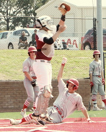 John Hasler/Special to the Phoenix<br /> Fort Gibson's Lane Howe beats a high throw to home to score a run in the Tigers' Class 4A bi-district game against Muldrow on Thursday. The Tigers won both games 9-2 and 11-0.