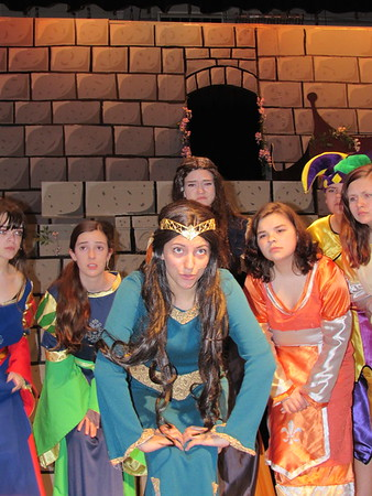 """Staff photo by Cathy Spaulding<br /> Princess Winnifred the Woebegone (Alexandria McBrien, third from<br /> left), sings about how shy she is in the Hilldale High School musical<br /> """"Once Upon a Mattress."""""""