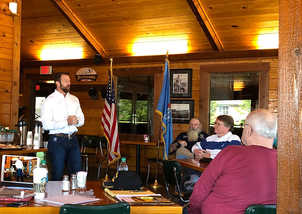 D.E. SMOOT/Muskogee Phoenix<br /> U.S. Rep. Markwayne Mullin shares his thoughts with constituents Friday about how things have changed in Washington since the 2018 elections. About 30 people attended the 2nd District congressman's Coffee and Conversations at Mahylon's.