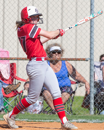 VON CASTOR/Special to the Phoenix<br /> Fort Gibson's Bayleigh James connects on a two-run home run in the bottom of the seventh inning to send the Lady Tigers into extra innings against Perkins-Tryon Friday afternoon at Fort Gibson.