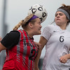 Phoenix special photo by Von Castor<br /> Hilldale's Gracie Farley and Wagoner's Taylor Duncan battle for control of a corner kick during Thursday's Class 4A playoff game at Wagoner.