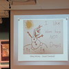 """Staff photo by Cathy Spaulding<br /> Olaf, the """"Frozen"""" snowman, appears on Miley McVey's poster, which won the Kindergarten through Second Grade contest."""