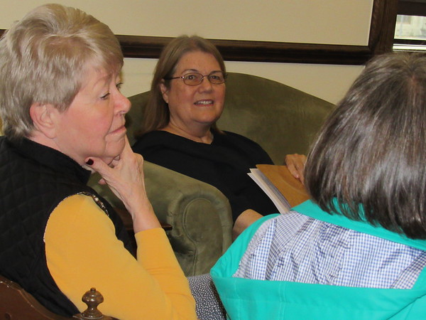 Serving Our Seniors group participants, from left, Jean Lewis, Pam Lipscomb and Kaia Holder share their perspectives in caring for loved ones. The support group meets the first and third Tuesday of each month.