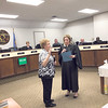D.E. SMOOT/Muskogee Phoenix<br /> Mayor Janey Cagle-Boydston, left, takes the oath of office for a second time during a ceremonial event Monday that took place after a reception in her honor and prior to a meeting of the Muskogee City Council. Municipal Judge Toni Bradley Smith administered the oath of office.
