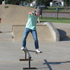 Staff photo by Cathy Spaulding<br /> Cameron Martin, 15, doesn't even need wheels to traverse a rail at Fort Gibson Skate Park. He plans to compete in the town's second annual skate contest Saturday.