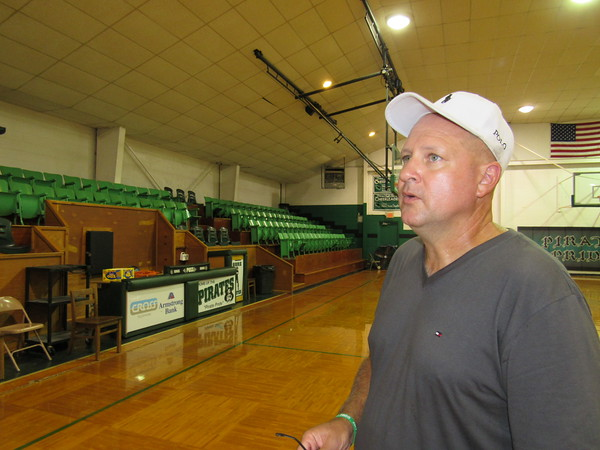 Staff photo by Cathy Spaulding<br /> Gore School Superintendent Lucky McCrary said a $4.9 million bond issue will fund a multipurpose building with a larger gym, band room, stage and multisport concession area. He said the current gym is more than 45 years old.