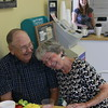 Staff photo by Harrison Grimwood<br /> Harold and Patty Langton share a laugh during their celebration of their 65th wedding anniversary Thursday afternoon at Chandler Road Donuts, where they have been steady patrons, coming in almost daily, for more than a decade.