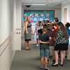Staff photo by Cathy Spaulding<br /> Fort Gibson Intermediate Elementary third-grade teacher Stephanie Cole leads her students on a school tour Wednesday on the first day of the school year. About 364 students have been enrolled at IES so far.