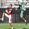 Special photo by Shane Keeter<br /> Muskogee's Travon Hughes just misses on coverage in scrimmage action at Jenks on Friday.