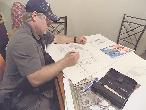Staff photo by Mike Elswick<br /> While artist Ron Welch is one of Muskogee's newer residents, the city's abundance of historic buildings have captured his attention. He plans on sketching a number of historically significant structures which could be a part of a Muskogee Art Guild gallery show later.