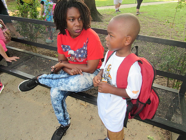 CATHY SPAULDING/Muskogee Phoenix<br /> Dannita Evans gives her son Remington a pep talk Thursday morning before his first day of kindergarten at New Tech at Cherokee Elementary. Thursday marked the first day of Muskogee Public Schools' 2019 school year.