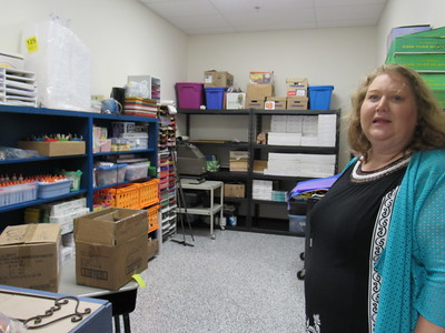 CATHY SPAULDING/Muskogee Phoenix Hilldale Lower Elementary Principal Patti Bilyard shows a spacious closet for the new art room. The art room was moved to what once was a school kitchen.