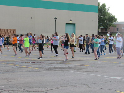 CATHY SPAULDING/Muskogee Phoenix Members of Muskogee High School's Pride of Muskogee band drill in a school parking lot. They have practiced marching and music for the past two weeks.