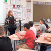 CATHY SPAULDING/Muskogee Phoenix<br /> Katrina White, sixth-grade geography teacher, gives rules to her class Friday on the first day of school at Fort Gibson Middle School.
