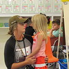 Staff photo by Cathy Spaulding<br /> Candace Peters gives her daughter Teagan Peters, 5, some last-minute hugs and advice on Teagan's first day of school at Early Learning Center.