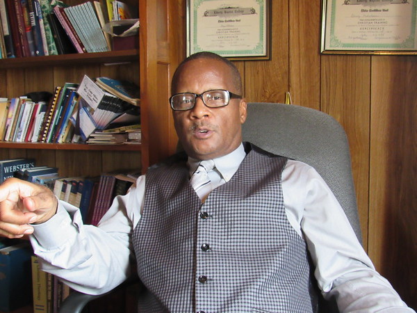 Staff photo by Cathy Spaulding<br /> The Rev. Gary Mitchum reflects on his pastoral journey that took him to Porter and New Zion Baptist Church. He said he received his call at New Zion.