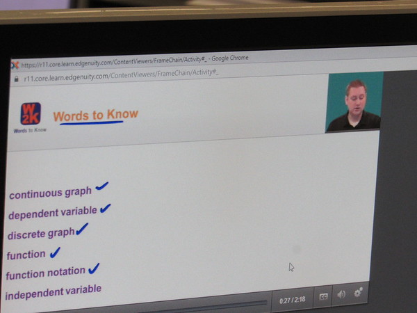 CATHY SPAULDING/Muskogee Phoenix<br /> An Edgenuity instructor goes over math vocabulary words in a lesson offered through Hilldale Virtual Learning Academy.