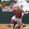 Phoenix special photo by Von Castor<br /> Fort Gibson shortstop Maddi Jo Williams awaits the ball for the putout Tuesday.
